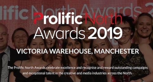 Banner ad for the Prolific North Awards 2019