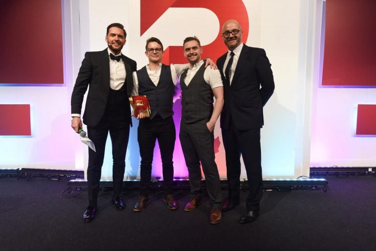 Gareth Healey of Beyond Noise presents the 2019 SEO Agency of the Year award to Candid Sky at The Prolific North Awards