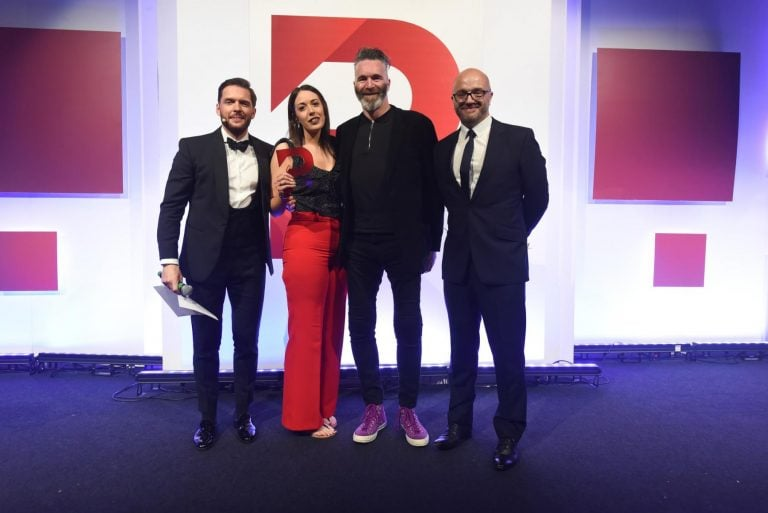 Gareth Healey fo Beyond Noise presents the 2019 B2C PR Campaign of the Year award to Smoking Gun and Childs Farm